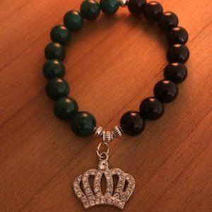 Jewelry - Onyx & Jade 10mm Bead Bracelet w/ Crown Charm